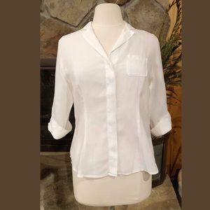 Rosso35 Linen Blouse Size 42 White 3/4 Sleeve #255